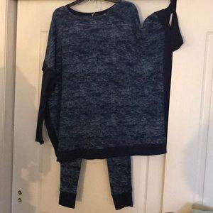 NWT sz s blue fleece pajamas top/pants